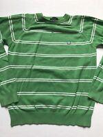 DC Shoes Men's Sz M Green White Striped Crew Neck Sweater Cotton Logo