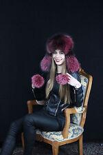 Silver Fox Fur Ushanka Hat With Leather 100% Genuine Saga Furs Dyed Fox Purple