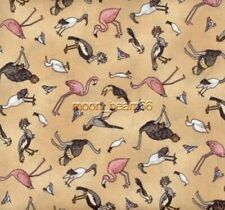 Peaceful Kingdom Birds Flamingos Ostriches Tan Cotton Fabric By The Yard