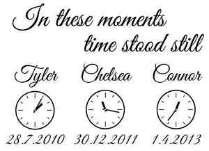 in These Moments Time Stood Still Personalised Vinyl Wall Art Sticker + FREE P&P
