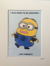 Despicable Me - Minion - Awesome Not Perfect - Hand Drawn & Hand Painted Cel