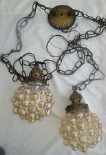 Vintage EF EF Industries Hanging Swag Lamp Light Retro Hollywood Glass
