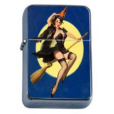 Windproof Refillable Fliptop Oil Lighter Classic Vintage Model Pin Up Girl D-135