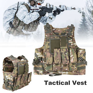 Ridgeyard CP Camo Combat Molle Plate Military Army Airsoft Tactical Vest Hunting