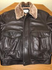 Mens Coldwater Creek Leather Bomber Flight Flyer Style Winter Jacket Premium XL