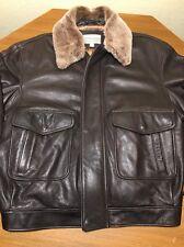 Mens Coldwater Creek Leather Bomber Flight Flyer Style Winter Jacket Premium XL