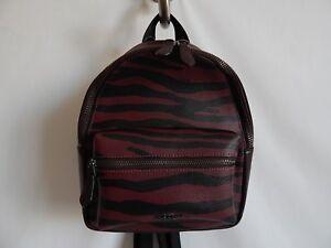 Coach Mini Charlie Backpack Tiger  Print in Dark Red- F37880