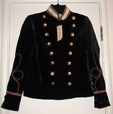 Ralph Lauren Denim & Supply Black Velvet Military Officer Jacket Sz XL $245 NWT