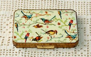 RARE RECTANGULAR HAND ENAMELED BIRDS SERIES VINTAGE STRATTON COMPACT
