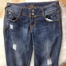 Almost Famous Jeans Sz 5 Juniors Destructed Flap Embroidered Back Pockets