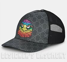 GUCCI black XL angry bird EAGLE Supreme GG Canvas Baseball Hat cap NWT Authentic