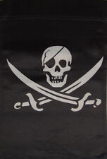 "12x18 12""x18"" Pirate Calico Jack Double Sided Vertical Sleeve Flag Garden"