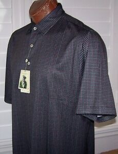 DONALD ROSS Golf s/s moisture WICKING polo Shirt Sz L BLACK-PINK-SEAGRASS