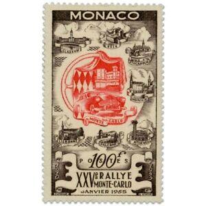 MONACO N°420, 25E RALLYE AUTOMOBILE DE MONTE-CARLO, TIMBRE NEUF**-1955