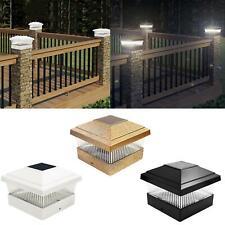 More details for outdoor solar powered led deck post light garden cap square fence landscape lamp