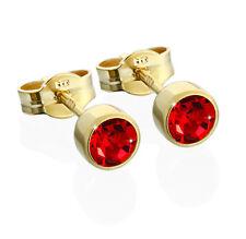 Paar Ohrstecker Gold 333er 4,50mm hellrot Zirkonia Damen Herren Kinder 6604