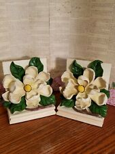 White Magnolia Flower Blossom Floral Heavy Resin Bookends Library Office Decor