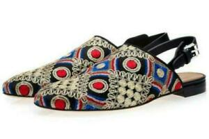 Mens Wedge Embroidery Flat Wearproof Driving Shoes Leisure Slip On Mules Shoes