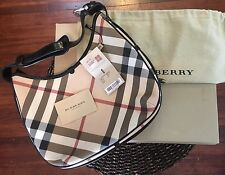 Authentic Burberry Barton Nova Hobo Shoulder Purse Handbag Classic Plaid Patent
