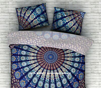 "18 X 28"" INCHES STANDARD SIZE INDIAN BLUE PEACOCK MANDALA PILLOW COVERS SHAMS"