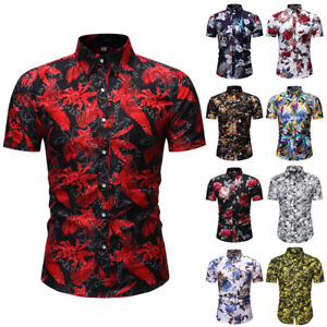 Men Short Sleeve Slim Fit Hawaiian Button Shirts Summer Beach Casual Floral Tops