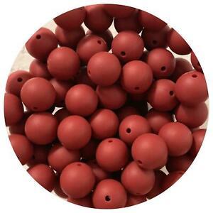 10 silicone BURGUNDY red 15mm beads round BPA free safe DIY sensory dark