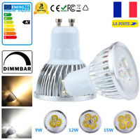 GU10 9W 12W 15W Dimmable LED Ampoule Lampe Downlight Spot light Bulb Lumière