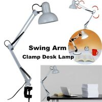 Adjustable Swing Arm Lamp Clamp Desk Mount Room Office Study Bedsid Table