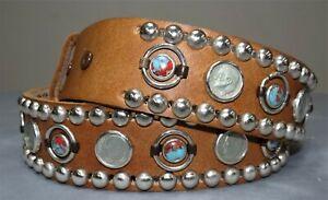 Men's Brown Leather Belt Sz 44 w Studs Coins Dimes & Turquoise Stone Conchos USA