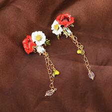 Boucles d`Oreilles Clous Puces Fleur Marguerite Narcre Blanche Lettre D Vintage