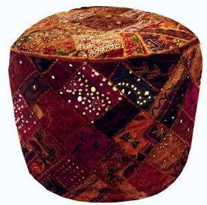 24'' Indian Patchwork Round Ottoman Pouf Cover Vintage Moroccan Footstool Pouffe