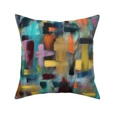 Multicolor Windowpane Abstract Throw Pillow Cover w Optional Insert by Roostery