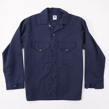 New POST O'ALLS Navy Stripe Button-Front Poly-Cotton Work Jacket M Oversized