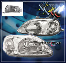 1999 2000 HONDA CIVIC 2/3/4DR CRYSTAL HEADLIGHT+HID KIT LAMP JDM CHROME HX LX SI