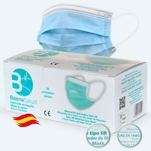Mascarillas Quirúrgicas azules homologadas desechables hechas en España 50 uds