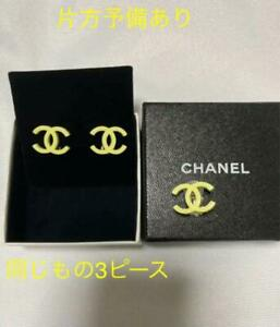 Auth Vintage CHANEL CC Logo Clip On Earrings Yellow 04C 3 Piece Used from Japan