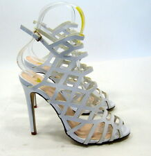 "new ladies White 5""Stiletto High Heel Open Toe Ankle Strap Sexy Shoes Size 8"