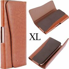 For Samsung Galaxy Note Edge - BROWN Leather Pouch Belt Clip Holster Cover Case