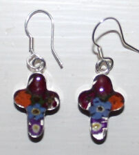 MEXICAN 925 SILVER CROSS DANGLING  EARRINGS REAL FLOWERS ROSES