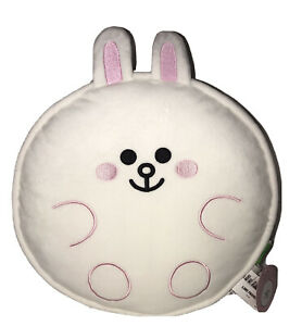 """New GUND Line Friends Cony Bunny Soft Plush Round 12"""" Pillow Large White & Pink"""