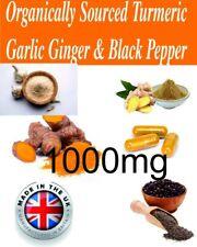 SUPER MAX STRENGTH 1000mg Turmeric Garlic Ginger High strength 120 Capsules UK