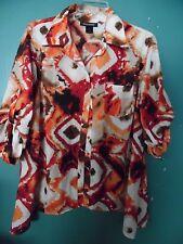 Ashley Stewart orange patterned blouse    Size 18/20  (1X)