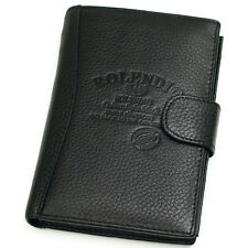 Black Leather Passport Wallet Case Holder Cover for Travel Clutch Purse