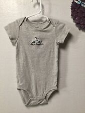 Baby boy one piece snap crotch shirt size 18 months gray beige Carters 151