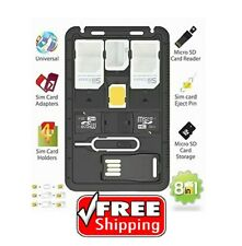All in 1 Universal Mini Sim Card Adapter Storage Case Kits with Tf card reader &