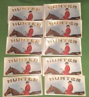 HUNTER Cigar EQUESTRIAN LOT OF 10 OLD Cigar Box LABELS Exquisite  FREE SHIPPING