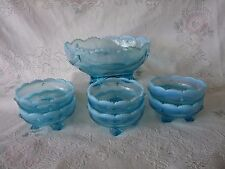 JEFFERSON GLASS Blue Opalescent Swag w/ Brackets MASTER BERRY BOWL SET 6 Dishes