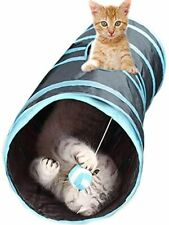 SunGrow Collapsible Cat Play Tunnel, Interactive Portable Kitty Tube with Peep H