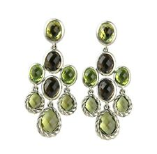 DAVID YURMAN STERLING SILVER CHANDELIER DANGLING PERIDOT EARRINGS NEW BOX # 14E