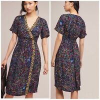 Anthropologie Maeve Dress Wrapped Floral  Black Motif New Woman Size 2